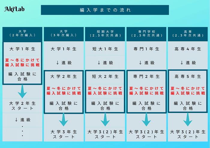 大学編入のスケジュール